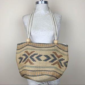 Vintage Woven Sisal Jute Bag - Handmade OOAK